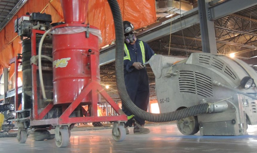 Dynamic Concrete Pumping employee working on a soff-cut project