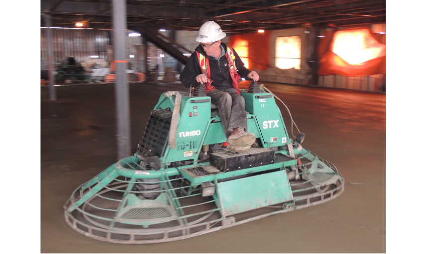 Dynamic Concrete Pumping contractor using finishing equipment on a job
