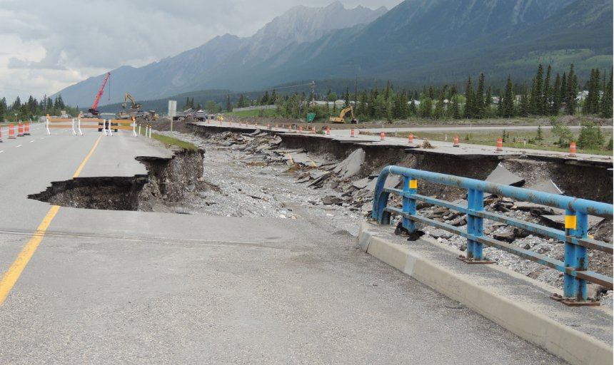roads washed out in Southern Alberta after a flood