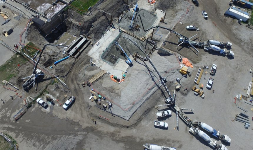 overhead image of Dynamic Concrete Pumping working on the water treatment plant project