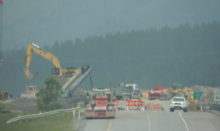 Dynamic Concrete Pumping working to fix the washed out bridges and structures in Alberta