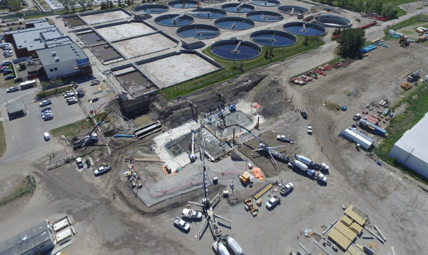 view of Dynamic Concrete Pumping working on a water treatment plant