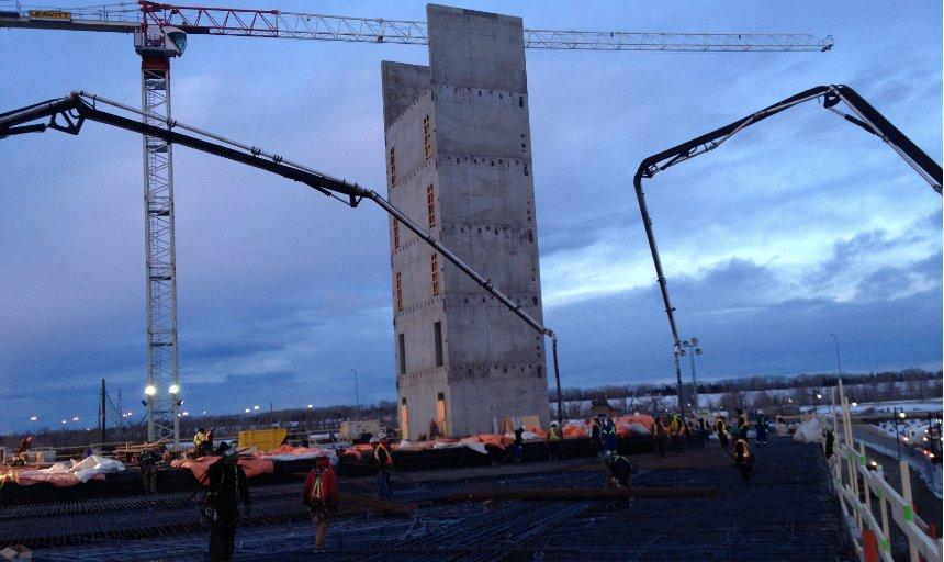 Dynamic Concrete Pumping concrete placers working on the quarry park development project