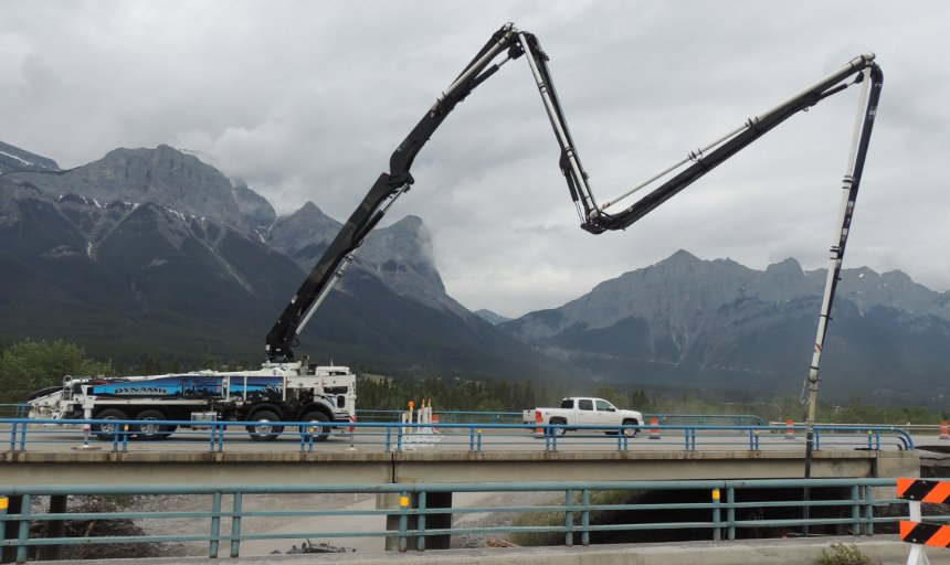 Dynamic Concrete Pumping using a boom pump on the Trans-Canada, Canmore job