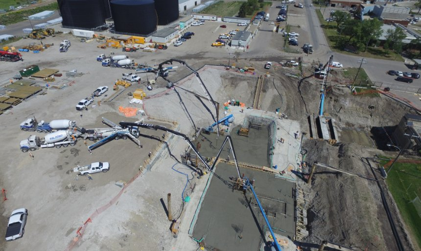 Dynamic Concrete Pumping crew working on the water treatment plant project