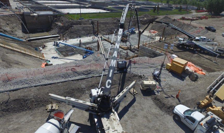 Dynamic Concrete Pumping boom pump pumping concrete at the Water Treatment Plant job site
