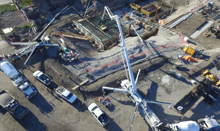 overhead view of Dynamic Concrete Pumping at work on the Water Treatment Plant project