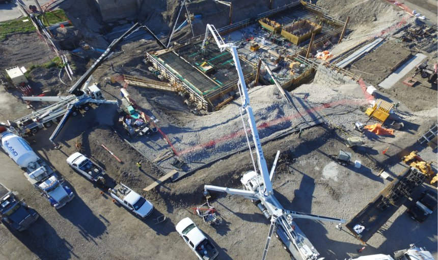 two Dynamic Concrete Pumping pumps at work on the Water Treatment Plant project
