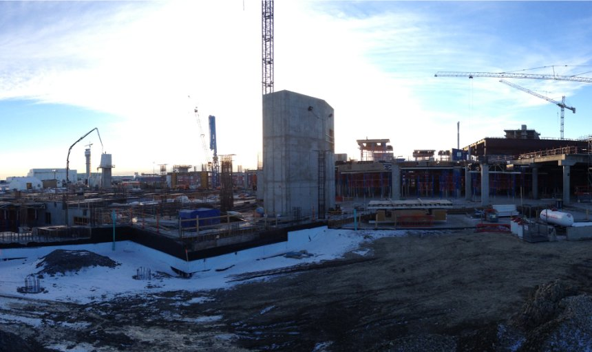 Dynamic Concrete Pumping working in the snow at the YYC International Airport
