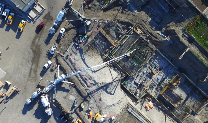 overhead view of Dynamic Concrete Pumping using boom pumps at the Water Treatment Plant project