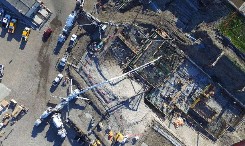 above view of two Dynamic Concrete Pumping pumps being used at the Water Treatment Plant project