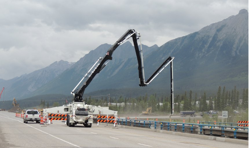 Dynamic Concrete Pumping truck and pump at the Trans Canada, Canmore project
