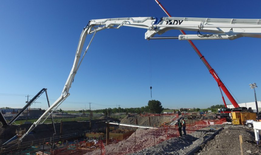 DY concrete pump being used by Dynamic Concrete Pumping at the Water Treatment Plant