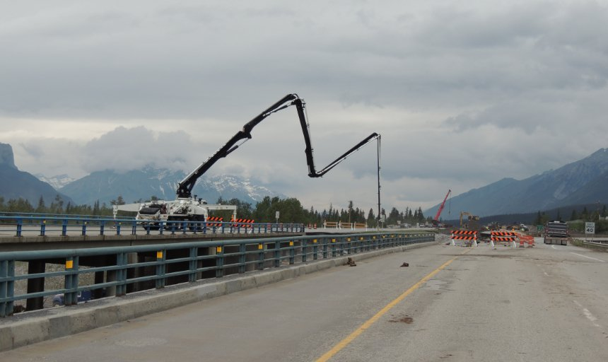 view of Dynamic Concrete Pumping using their pump at the Trans Canada, Canmore project
