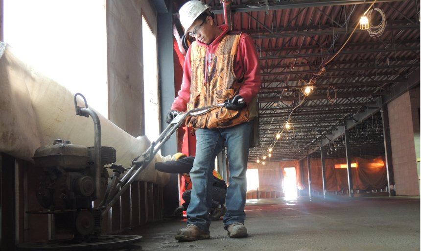 Dynamic Concrete Pumping contractor using finishing equipment on a project