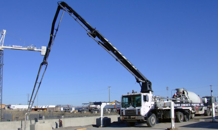 Dynamic Concrete Pumping using a boom pump at the Calgary South Hospital project
