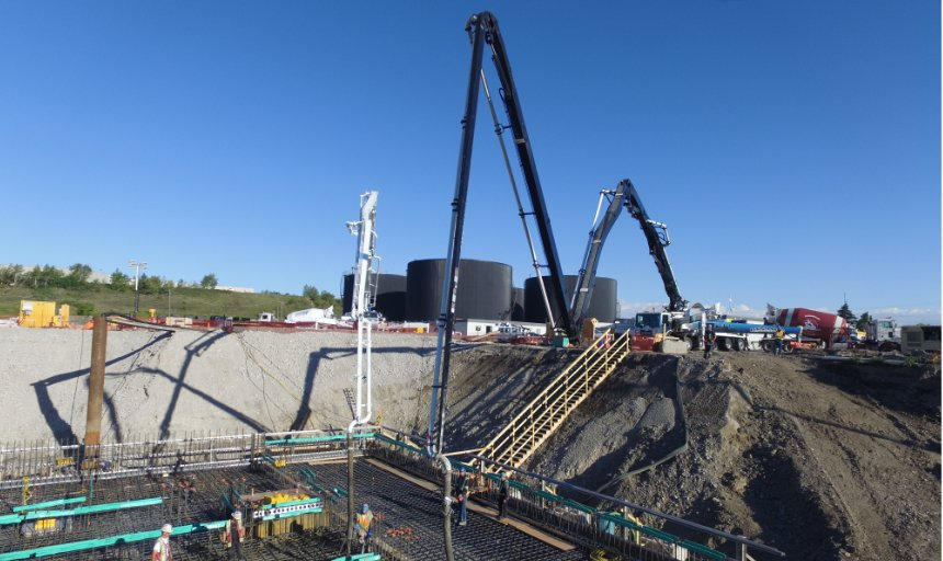two Dynamic Concrete Pumping pumps being used at the Water Treatment Plant project