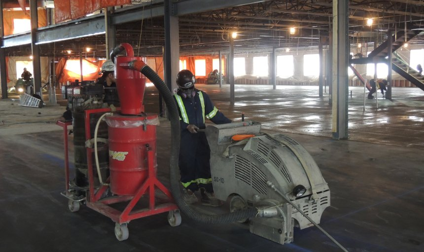 Dynamic Concrete Pumping contractor using a piece of equipment to complete a soff cutting project