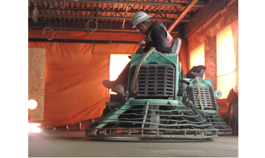 Dynamic Concrete Pumping placer and finisher on a piece of finishing equipment