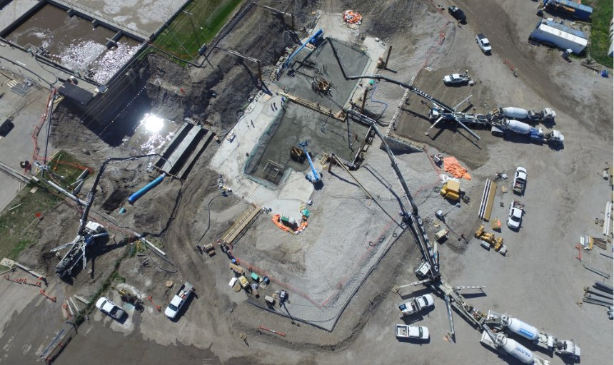 Dynamic Concrete Pumping crew at work on the Water Treatment Plant project