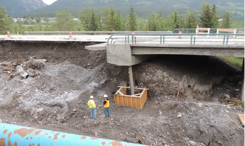damage done to roads and structures at the Trans Canada, Canmore project