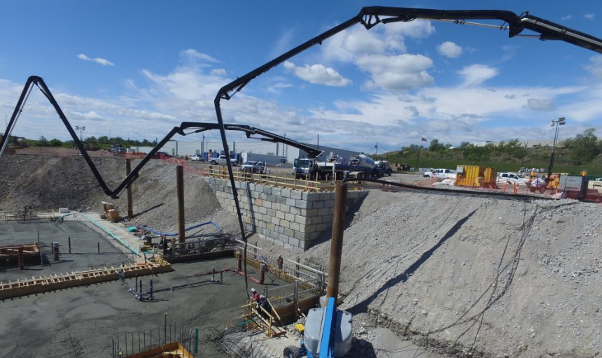 concrete being pumped at the Water Treatment Plant project by two Dynamic Concrete Pumping boom pumps
