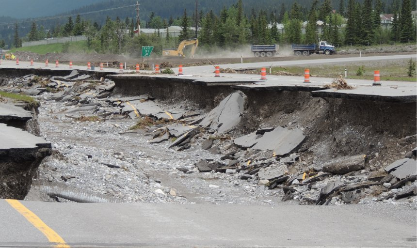a long stretch of road washed away by the flood in Southern Alberta