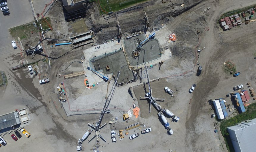 Dynamic Concrete Pumping using multiple boom pumps to complete the Water Treatment Plant project