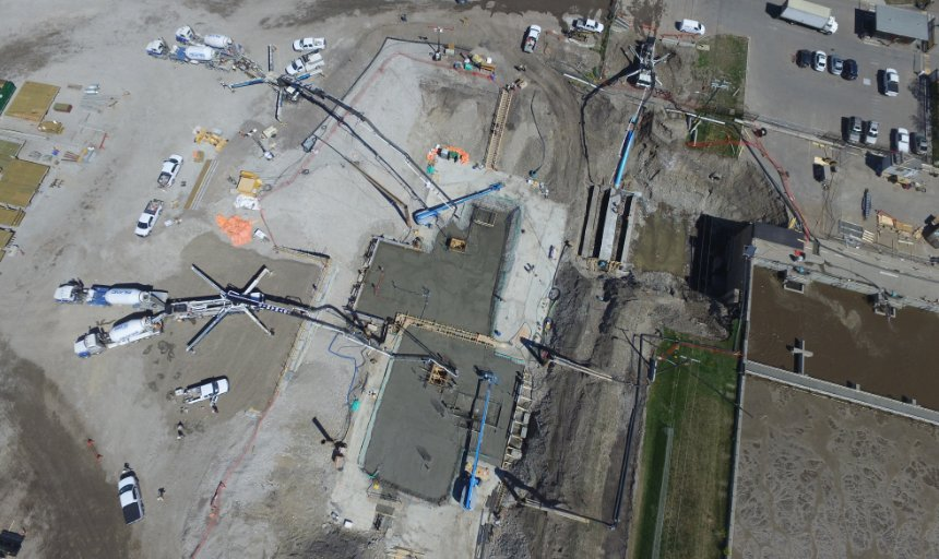 view from above of Dynamic Concrete Pumping adding concrete to the Water Treatment Plant