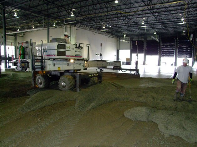 laser screed equipment being used to complete a Dynamic Concrete Pumping project