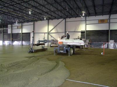 laser screed equipment being used by a concrete contractor to complete a concrete project