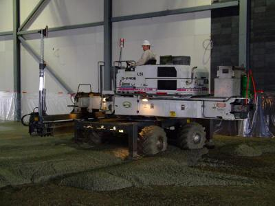 laser screed contractor using equipment to complete a Dynamic Concrete Pumping project