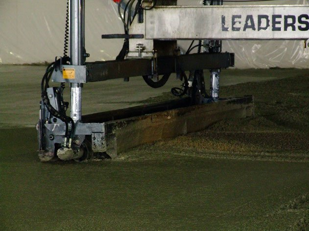 close up image of Dynamic Concrete Pumping laser screed equipment leveling concrete