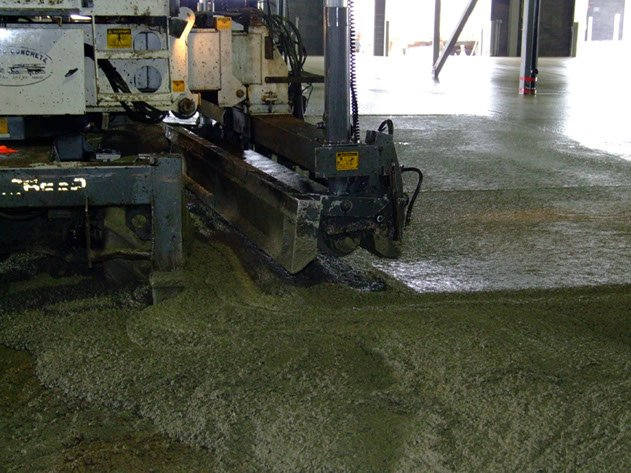 laser screed machine from Dynamic Concrete Pumping smoothing concrete