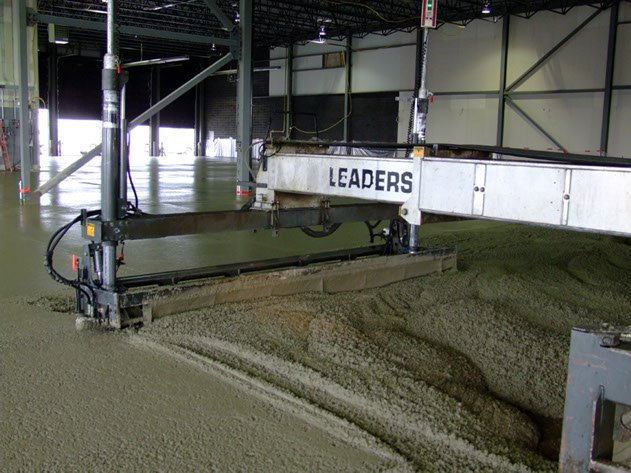 laser screed machine smoothing concrete for a Dynamic Concrete Pumping project