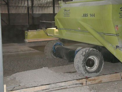 the back of a concrete hardener spreader from Dynamic Concrete Pumping