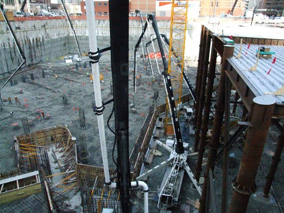 multiple Dynamic Concrete Pumping concrete pumps working on the Bow Building