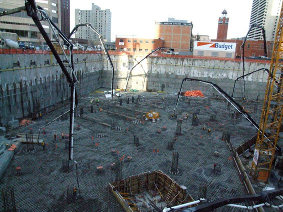 7 concrete pumps from Dynamic Concrete Pumping working together on the Bow Building project