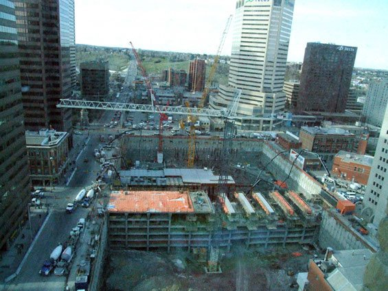 aerial image of Dynamic Concrete Pumping working on the Bow Building project
