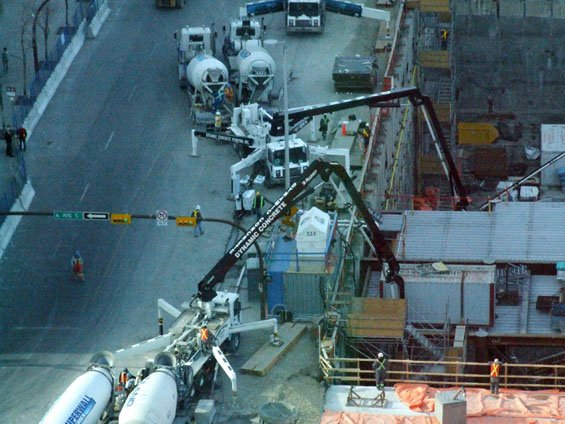 two Dynamic Concrete Pumping pumps at work on the Bow Building project