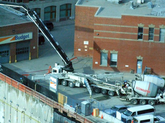 Dynamic Concrete Pumping using a boom pump on the Bow Building project