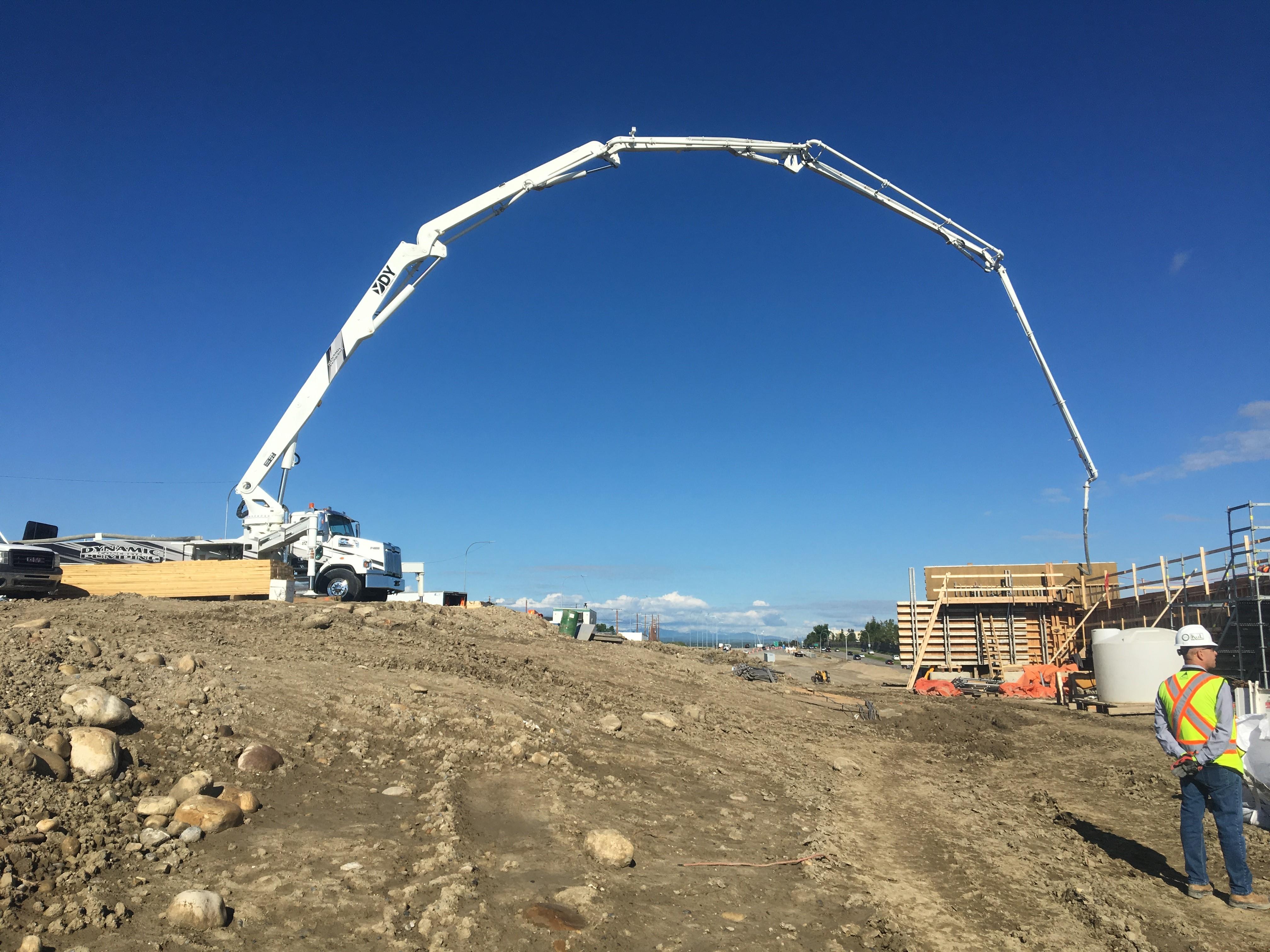 Dynamic Concrete Pumping utilizing their 48-M concrete boom pump