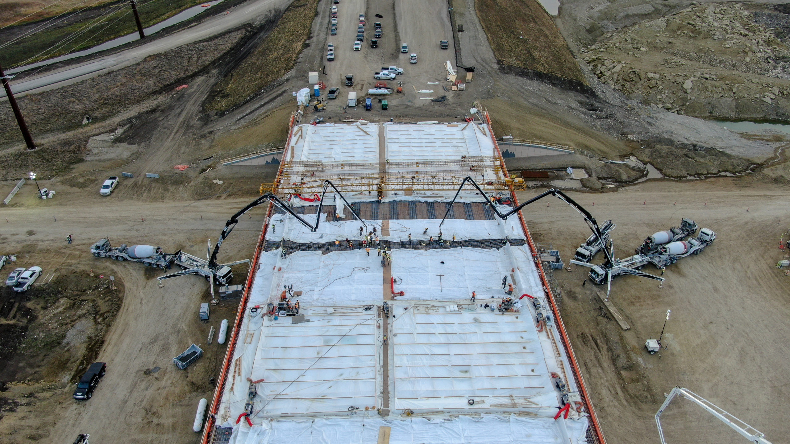 Dynamic Concrete Pumping crew working at the SW Calgary Ring Road job site