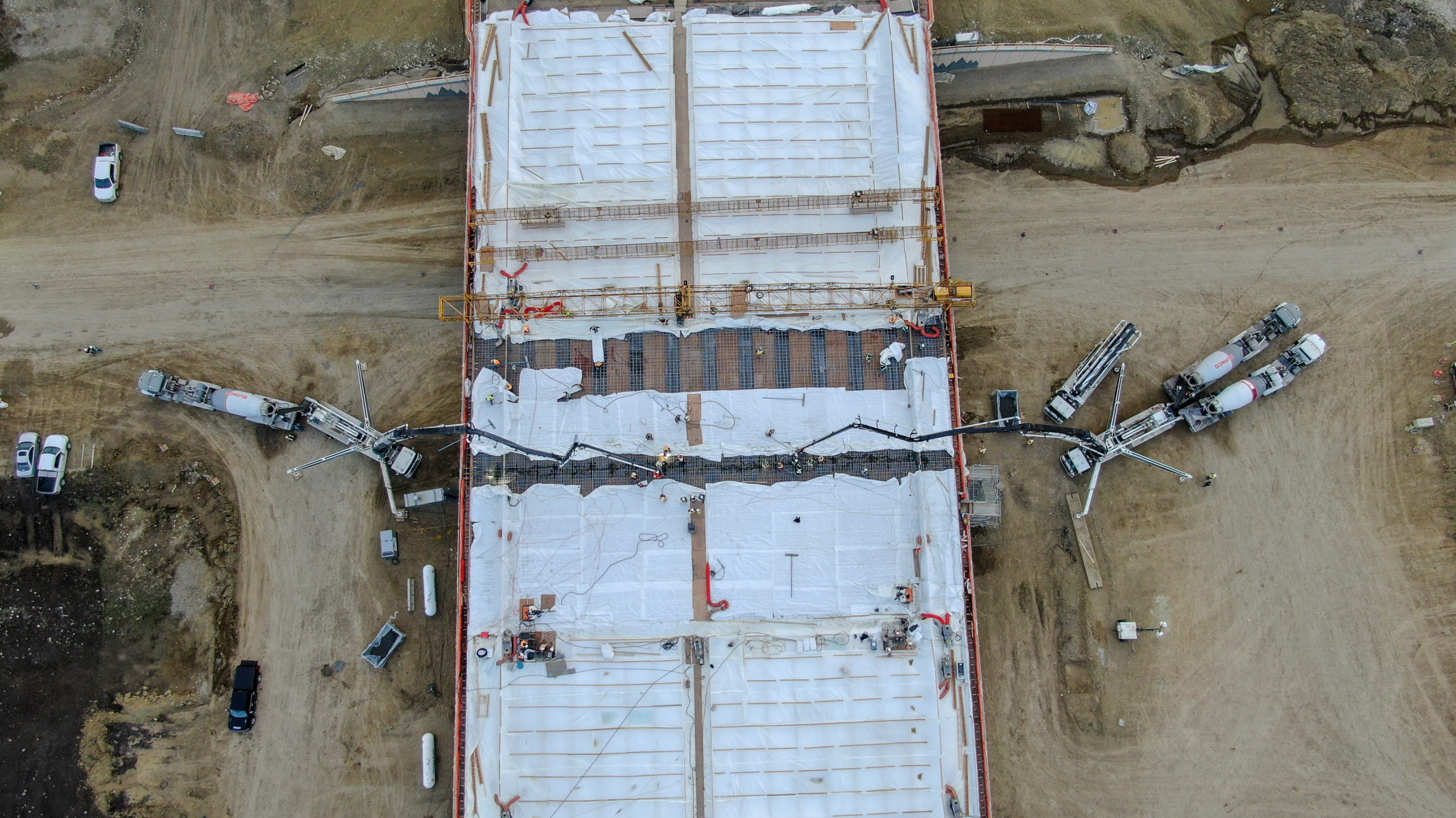 view of the structure at the SW Calgary Ring Road project being worked on by Dynamic Concrete Pumping