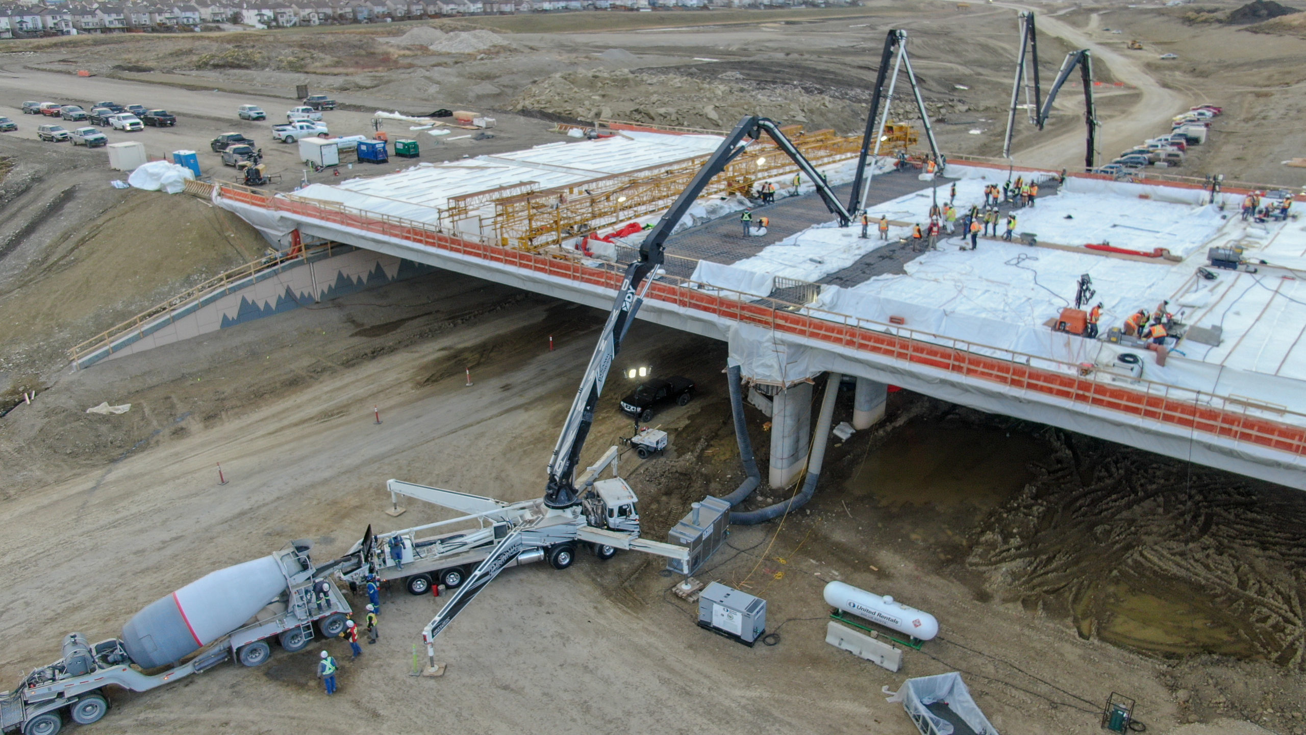 Dynamic Concrete Pumping concrete boom pump working on the SW Calgary Ring Road project