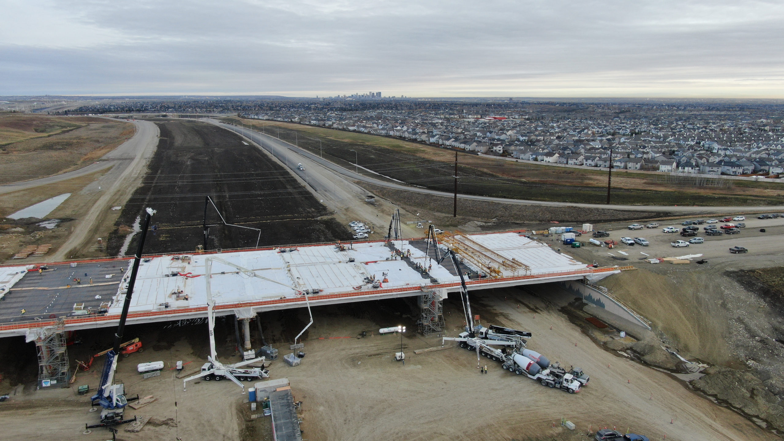 Dynamic Concrete Pumping equipment being used to complete the SW Calgary Ring Road project