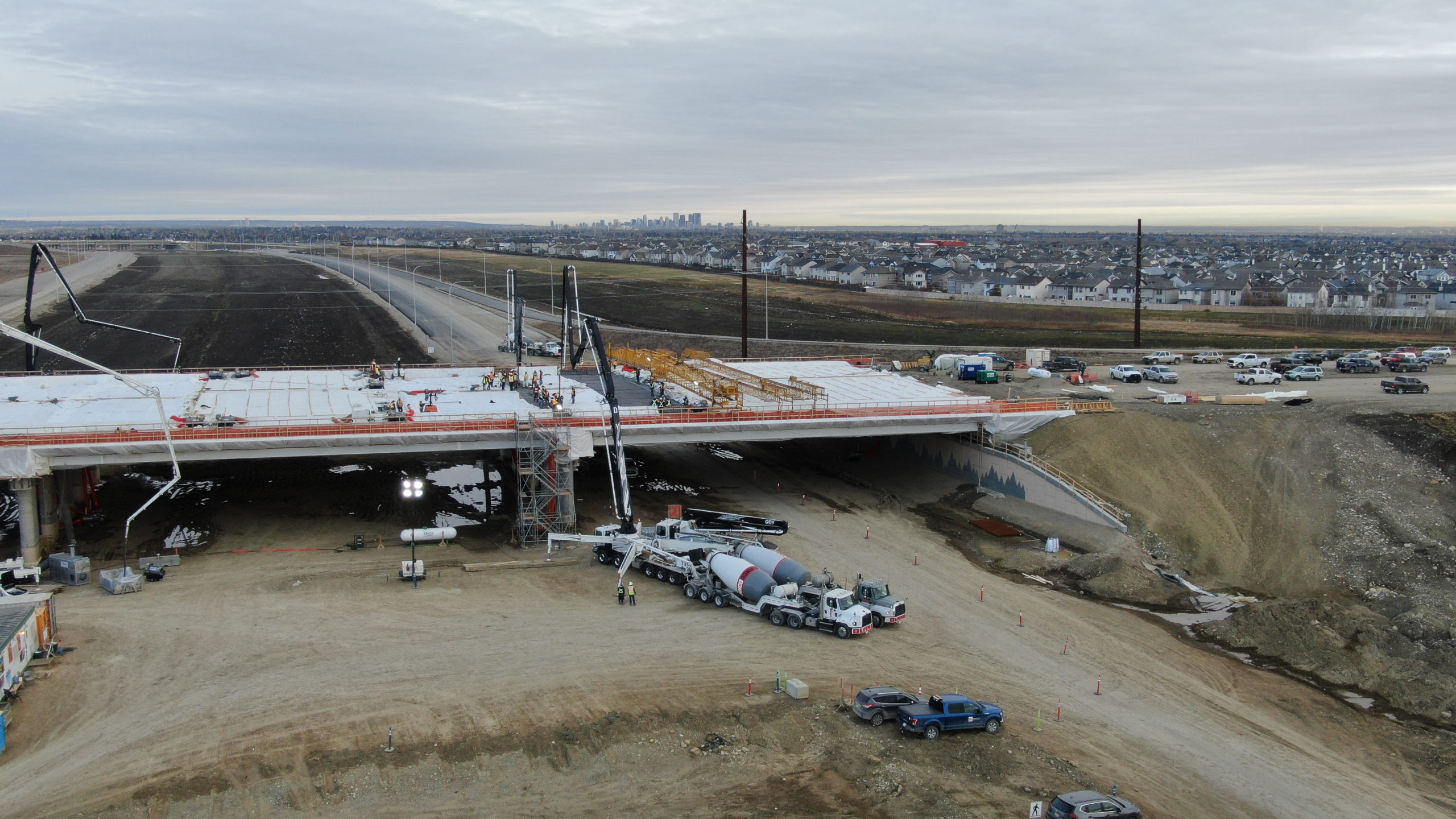 Dynamic Concrete Pumping boom pumps being used to complete the SW Calgary Ring Road