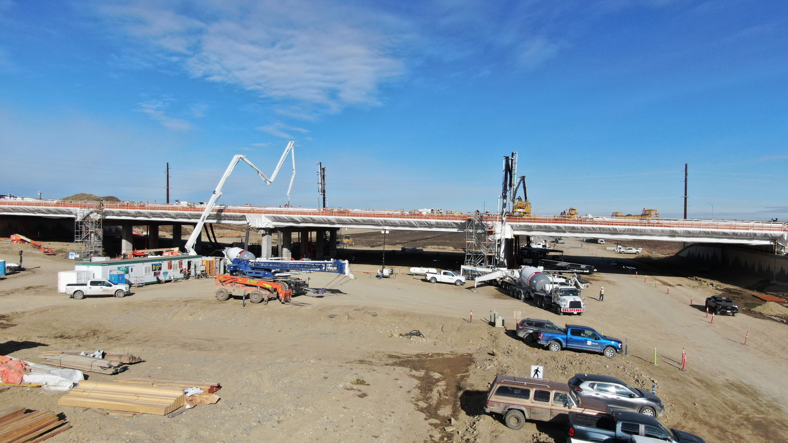 Dynamic Concrete Pumping trucks and equipment at the SW Calgary Ring Road job site