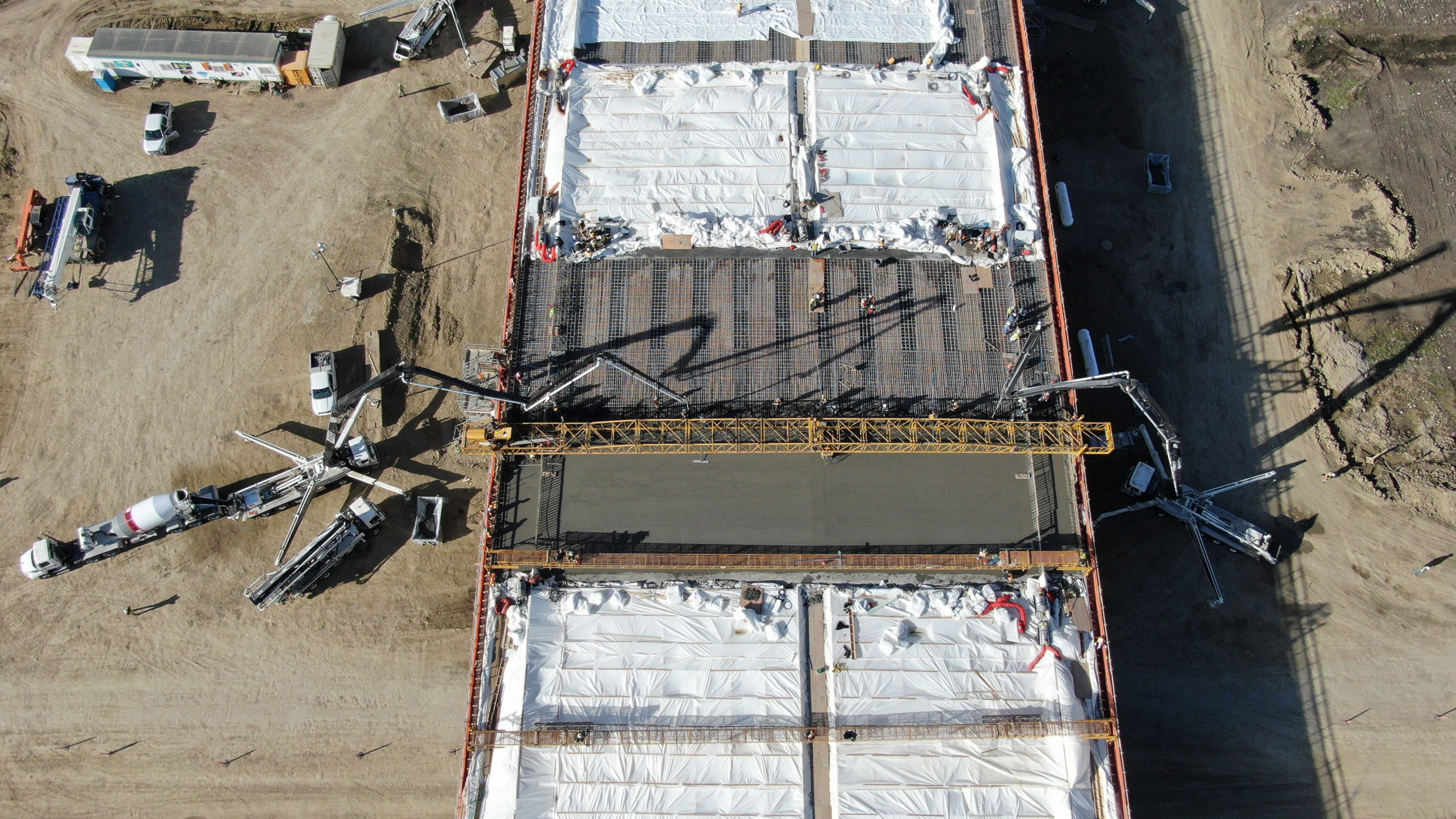 concrete being added to a structure at the SW Calgary Ring Road job