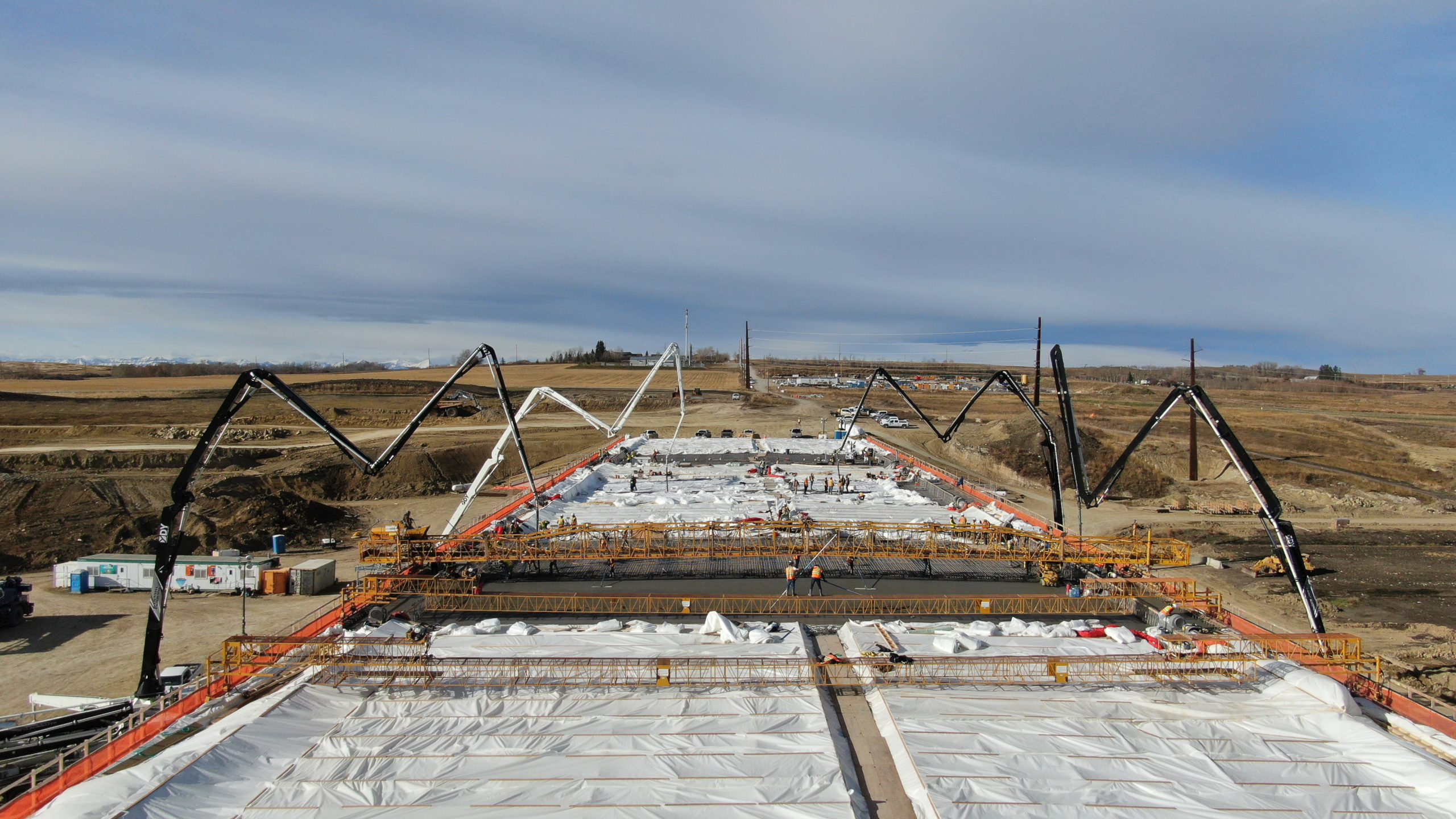 Dynamic Concrete Pumping team hard at work on the SW Calgary Ring Road job site